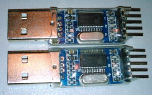 USB-to-UART converters with pl2303 chips.